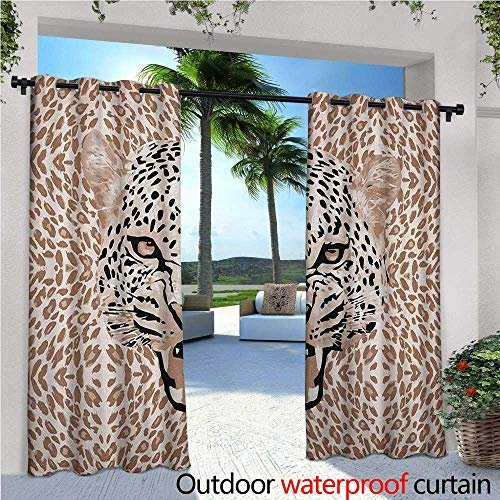 ins Roaring Leopard Portrait with Rosettes Wild African Animal Big Cat Graphic Outdoor Patio Curtains Waterproof with Grommets W120 x L108 Cocoa Beige Black ()
