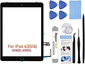 Fixerman Touch Screen Digitizer for iPad 6 6th Gen 2018 (A1893 A1954) Glass Replacement Repair Parts(NO LCD),with Home Button+Pre-Installed+Complete Repair Tools Kit(Black,9.7 inch)
