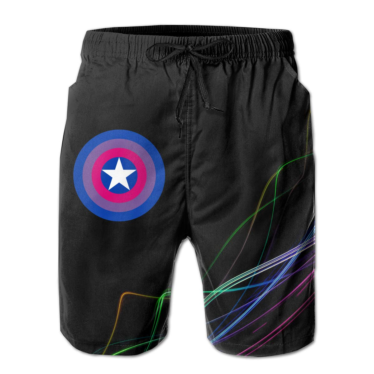 STLYESHORTS Bisexual Pride Captain Shield Mens Board Shorts Swim Trunks Beachwear Relaxed-Fit Beach Trunks