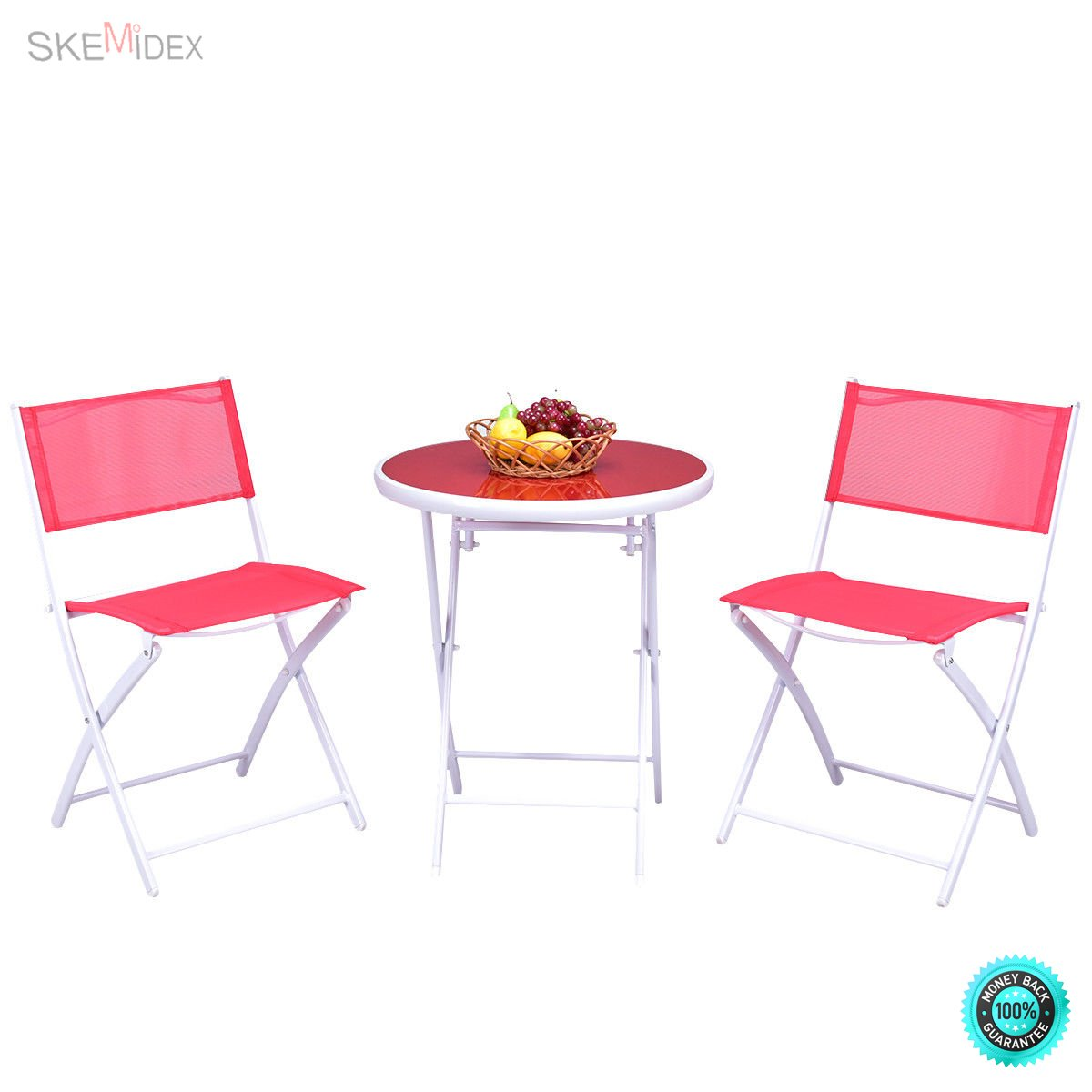 SKEMiDEX 3 PCS Folding Bistro Table Chairs Set Garden Backyard Patio Furniture Red New It enjoyable to have breakfast or afternoon tea in the garden or other outside space with this comfortable