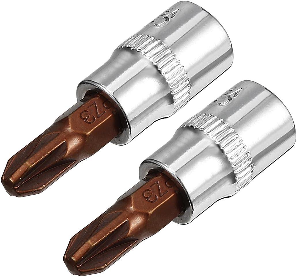 S2 Steel uxcell 2Pcs 1//4-Inch Drive PZ3 Pozi Bit Socket
