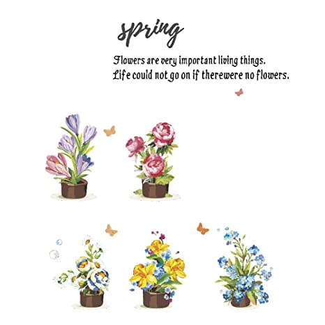 Amazon Com Winhappyhome Spring Flowers Wall Art Stickers For Kids