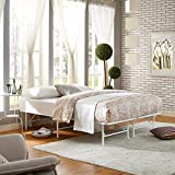 Modway Horizon Queen Bed Frame In White - Replaces Box Spring - Folding Portable Metal Mattress Bed Frame With Storage - Low Profile - Heavy Duty