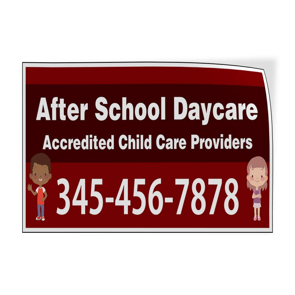 Custom Door Decals Vinyl Stickers Multiple Sizes Name Accredited to Child Care Providers Education School Daycare Outdoor Luggage /& Bumper Stickers for Cars Red 54X36Inches Set of 2