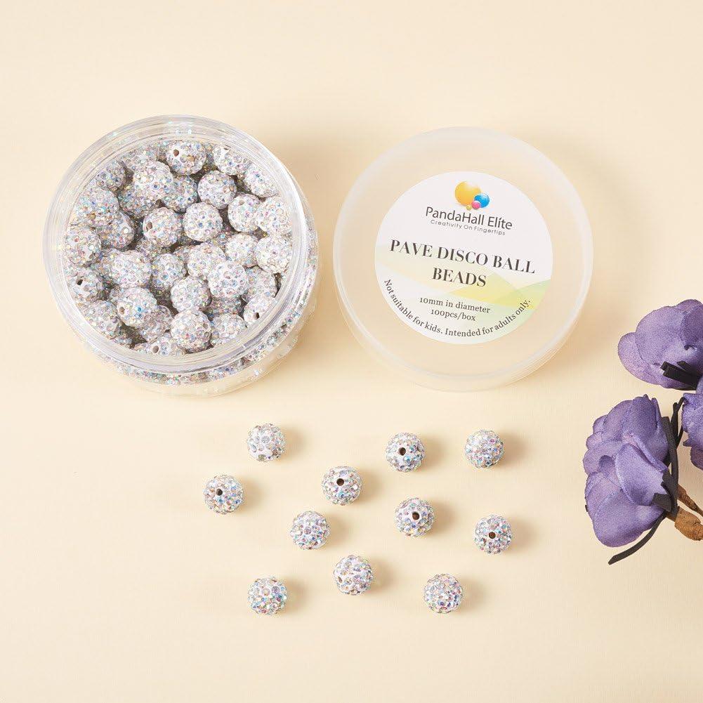 PandaHall 4 Dimensioni Perline di Cristallo Shamballa Ball Clay 40 Pezzi e 80pcs branelli distanziatori di Cristallo dArgento del Rhinestone per la Fabbricazione dei Braccialetti dellorecchino