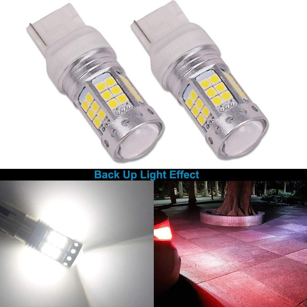 HSUN 7440 W21W T20 LED Light Bulbs, 42LED SMD3030 Chipsets 1A Currency High Power Canbus Error Free with 8400LM Extremely Bright For Turning Signal Backup Light and More, 2 Pack, 6000K White
