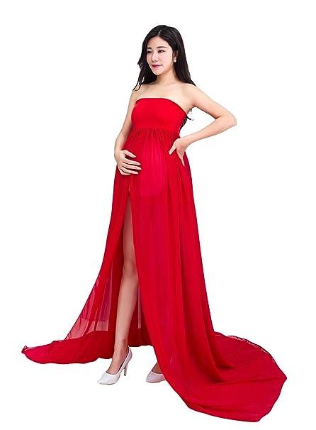 Maternidad Chiffon Fotografía Apoyos Vestido largo Split Vista delantera mujeres embarazadas con ropa interior 2pcs Set
