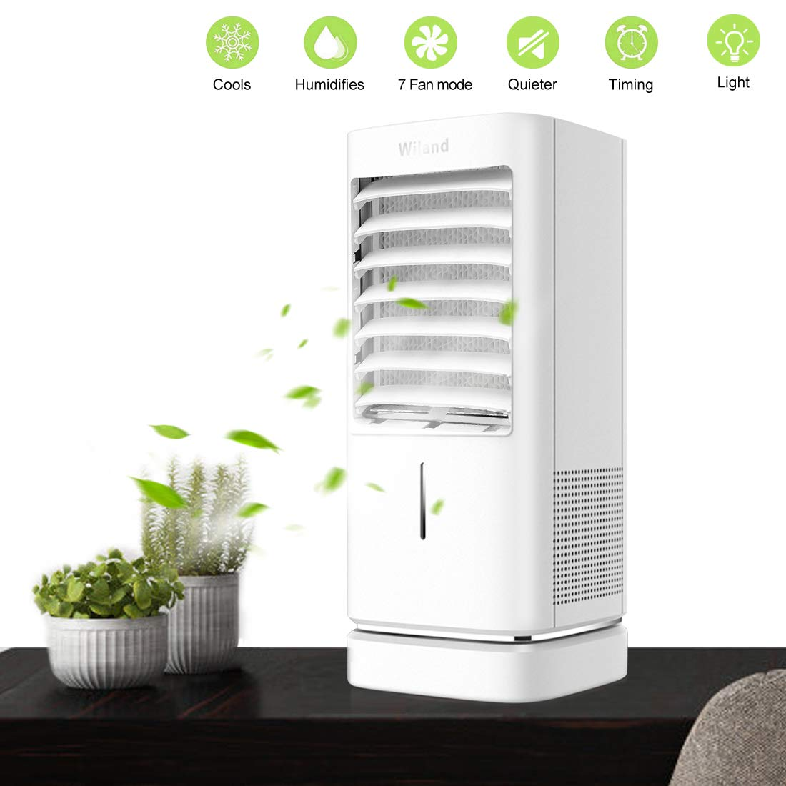 Multifunctional Air Cooler Air Conditioner Fan, Moving Desktop Cooling Fan with Timer/Lights for Home Office Bedroom by WiLand