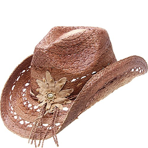 Peter Grimm Ltd Women's Mallorie Flower Straw Cowgirl Hat Brown One Size