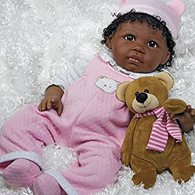 African American Realistic Lifelike Baby Doll - Bailey, 20 inch GentleTouch Vinyl with Weighted Body