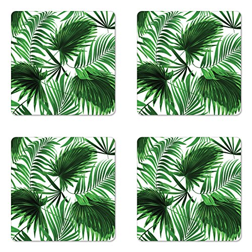 - Ambesonne Palm Leaf Coaster Set of Four, Realistic Vivid Leaves of Palm Tree Growth Ecology Lush Botany Themed Print, Square Hardboard Gloss Coasters for Drinks, Fern Green White