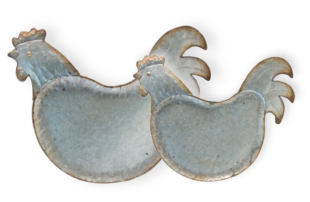 Set of 2 Boston International HHC18449 Roosters Farmhouse Style Decorative Trays