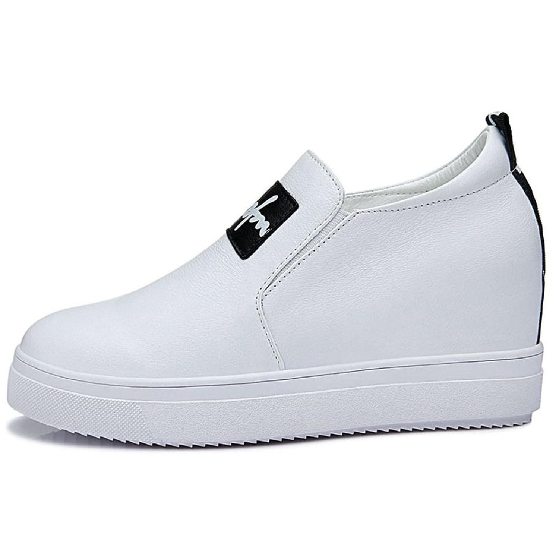 Damen Runde Zehen Flach Slip-on Halbschuhe Britische Stil Bequeme  Plateauschuhe Sneakers Weiß Größe 38 EU: Amazon.de: Schuhe & Handtaschen