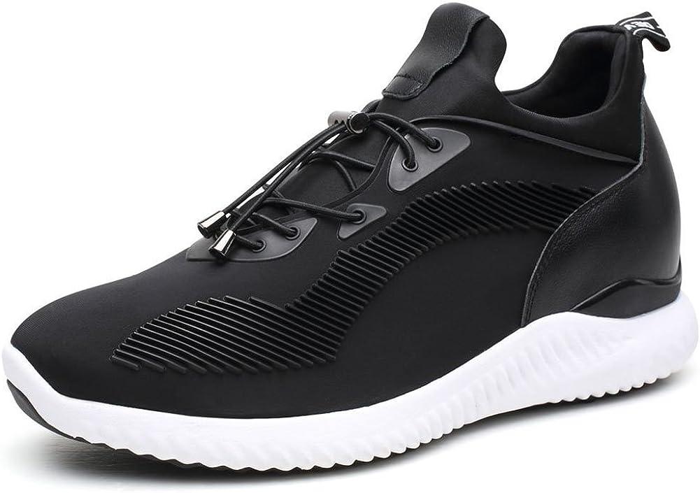 CHAMARIPA Ascensor Zapatillas Deportes Casual Zapatos Ligeros con Talón de Elevación Ocultos Para la Mujer Negro Rojo -7 Pulgadas Taller-W71W90V191D