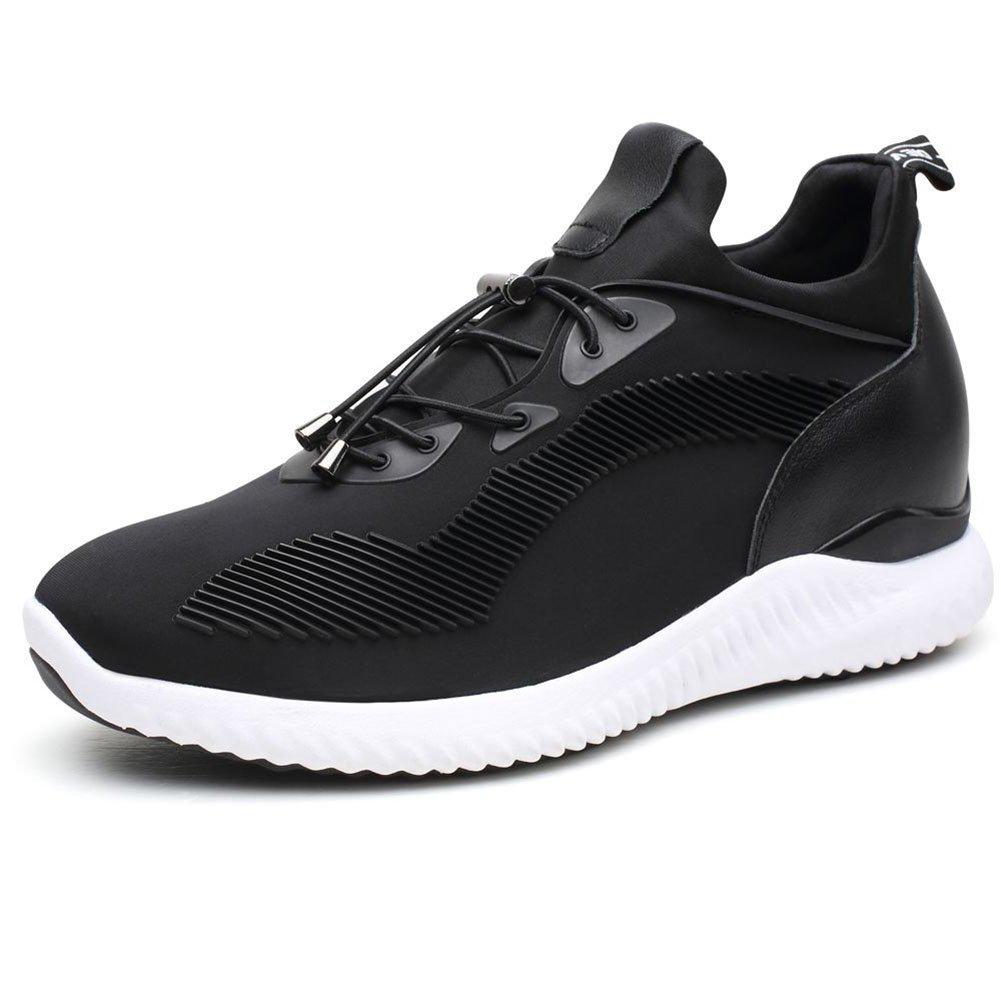 Noir1 45 EU CHAMARIPA Ascenseur paniers Sports Chaussures Légères Décontractées avec Talon de Levage Caché Pour Homme Noir Bleu gris -7cm Taller-H71C62V012D