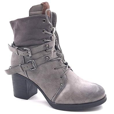 Angkorly Damen Schuhe Stiefeletten Hohe Combat Boots Biker Spitze Reißverschluss Blockabsatz High Heel 9 cm cm