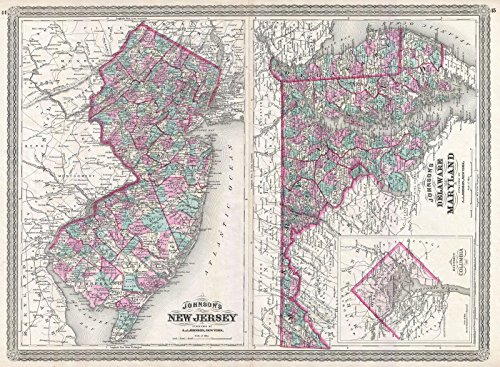 on Map of New Jersey, Maryland and Delaware, 1870 | Historical Antique Vintage Decor Poster Wall Art | 18in x 24in ()