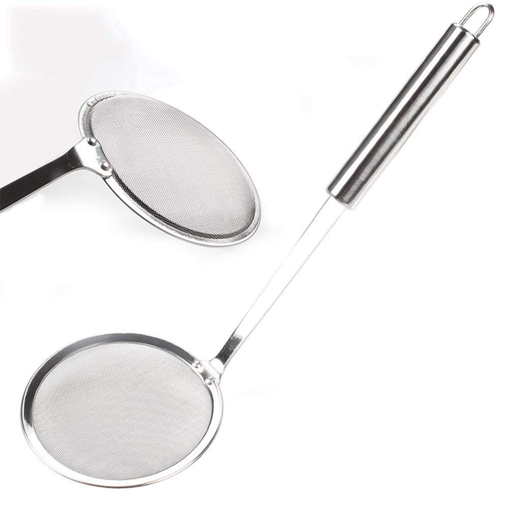 Tonver Hot Pot Fat Skimmer Spoon Stainless Steel Fine Mesh Strainer for Skimming Grease and Foam