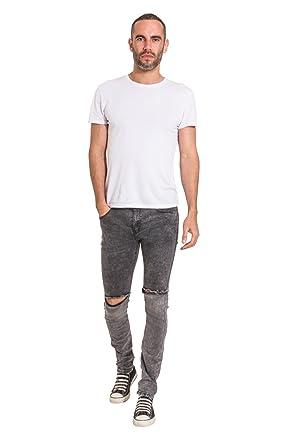 759354510ffd US Marshall Herren Slim Fit Jeans mit Knierissen Schwarz Denim Enge Jeans  FRED  Amazon.de  Bekleidung