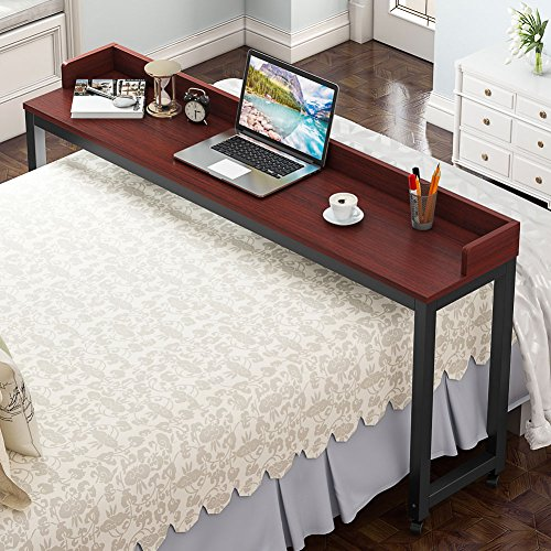 Overbed Table with Wheels, Tribesigns 70.8'' Queen Size Mobile Desk with Heavy-Duty Metal Legs, Works as Pub Table, Counter Height Dining Table or Computer Table Desk, Super Sturdy and -