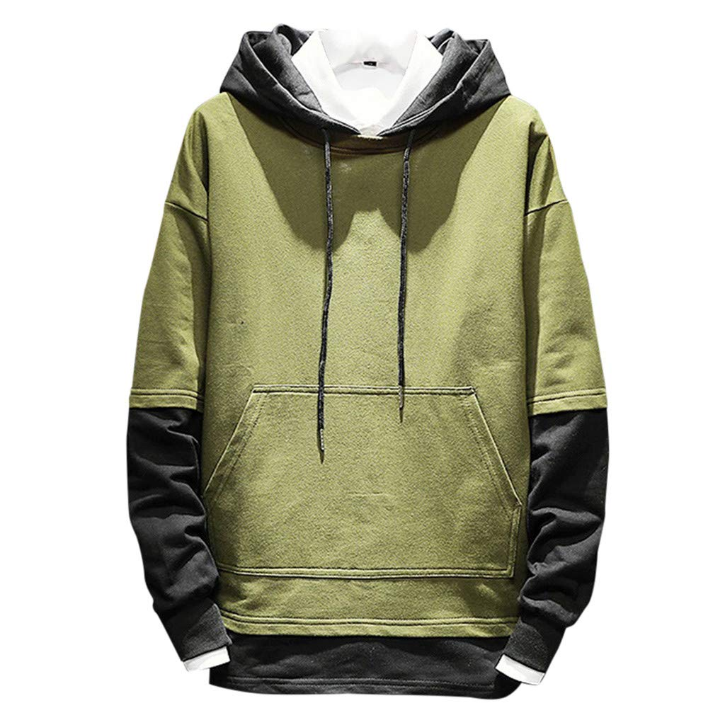 Kaniem Hoodie Sweatshirt,Mens Casual Patchwork Comfy Hooded Sweatshirt Pullover with Pockets (L, Army Green) by Kaniem