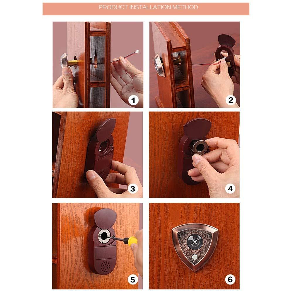 WJTZ-FYH Home doorbell cat eye with 26 ringtones 2-in-1 door mirror metal security door peephole mirror, A3 by WJTZ-FYH (Image #3)