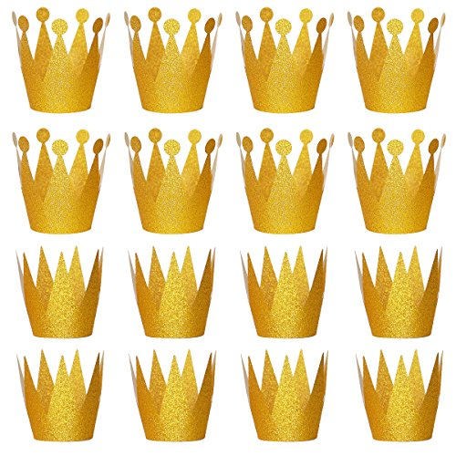 Gold Crown for Party with Elastic Ties, Pack of 24 by RUBFAC