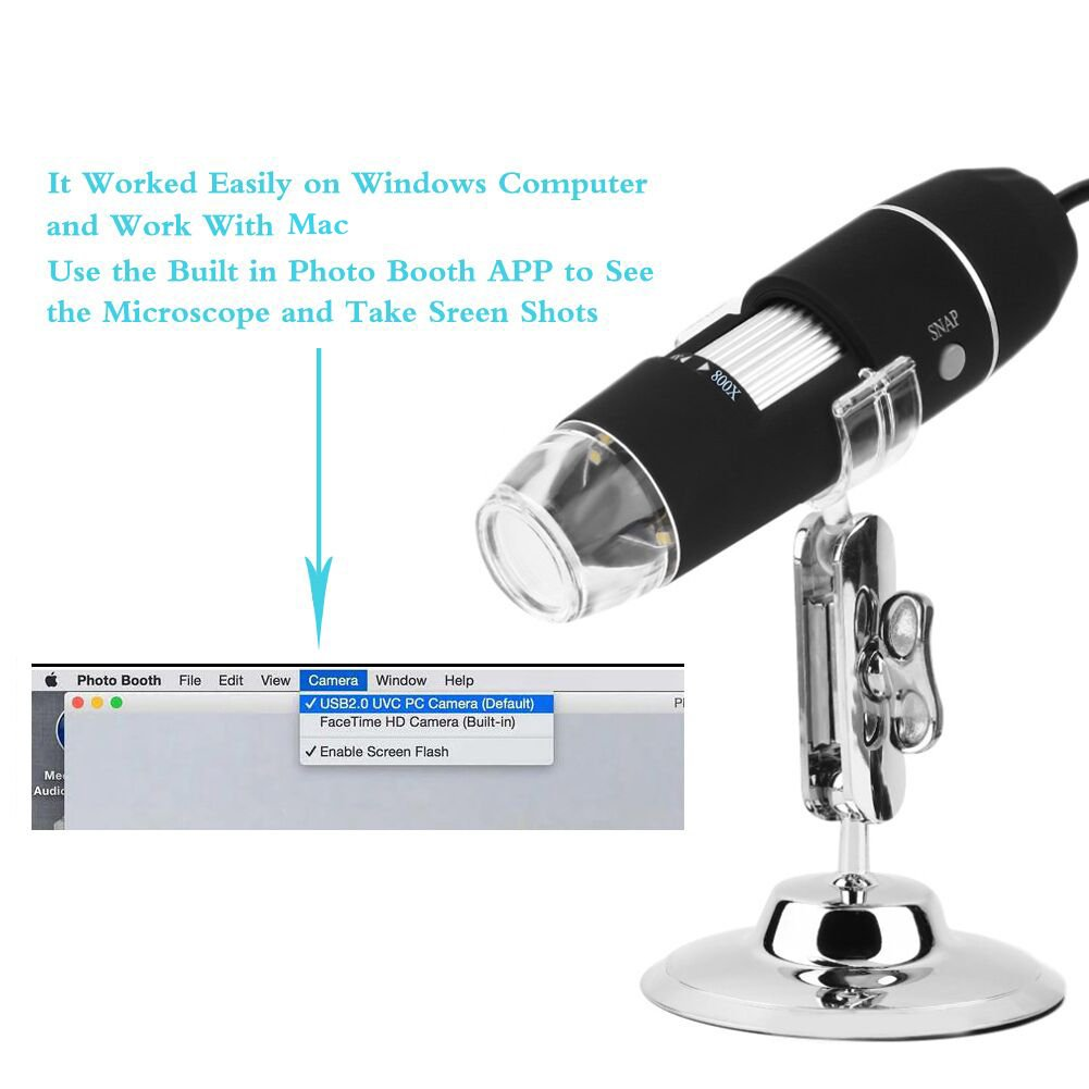 Portable USB Digital Microscope 20x-800x Magnification 8-LED Mini Microscope Endoscope Camera Magnifier with Stand by TOPMYS (Image #5)