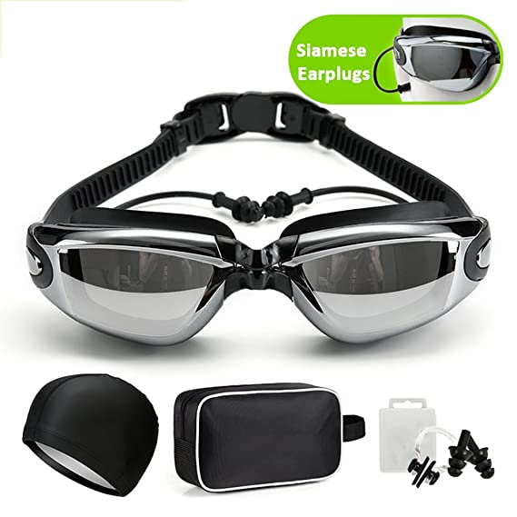 bfda869f456 UYEARN Swimming goggles Waterproof Swim Goggles Anti-Fog Goggles UV  Protection for men women adult include Nose Clip EarPlugs Swimming Hats Cap  and ...