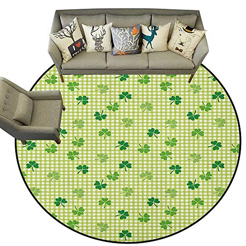 Irish,Runner Rugs Retro Classical Checkered Pattern with Cute Green Shamrocks Clovers Garden Plants D48 Soft Floor Mats for Bedroom Living Room