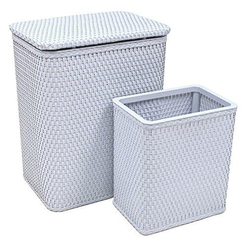 - RedmonUSA Redmon for Kids Chelsea Wicker Nursery Hamper and Matching Wastebasket, Black