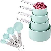Juego de 8 tazas y cucharas medidoras con mango de acero inoxidable para ingredientes secos y líquidos (azul cielo)