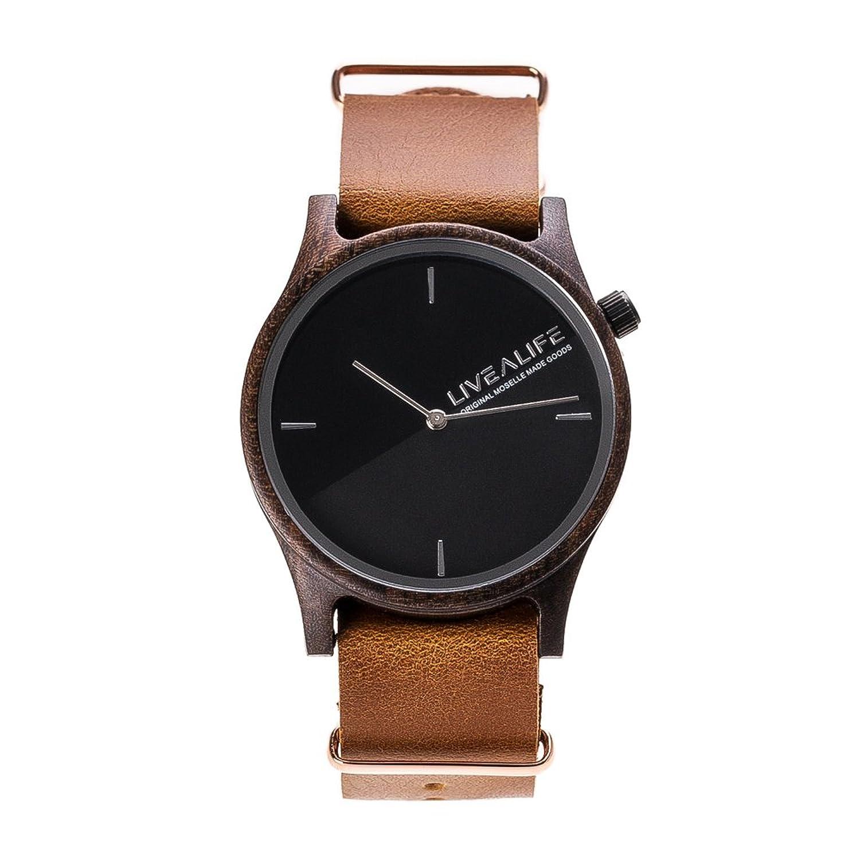 LIVEALIFE Unisex Holzuhr Quarz Uhrwerk Armbanduhr Holz Wechselband Leder Lederband schwarz minmalistisches Design