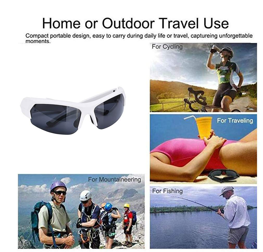 LHY RIDING Bluetooth Sports Glasses Multi-Function Cycling Glasses Sports Sunglasses Glasses Suitable for Receiving Calls and Listening to Songs,White