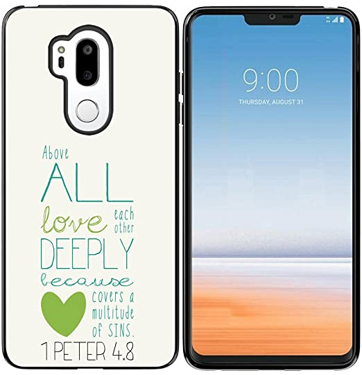 G7 ThinQ Case, Hungo Soft TPU Silicone Protective Cover for Compatible with  LG G7 ThinQ Christian Sayings Bible Verses Theme Peter Love Sayings