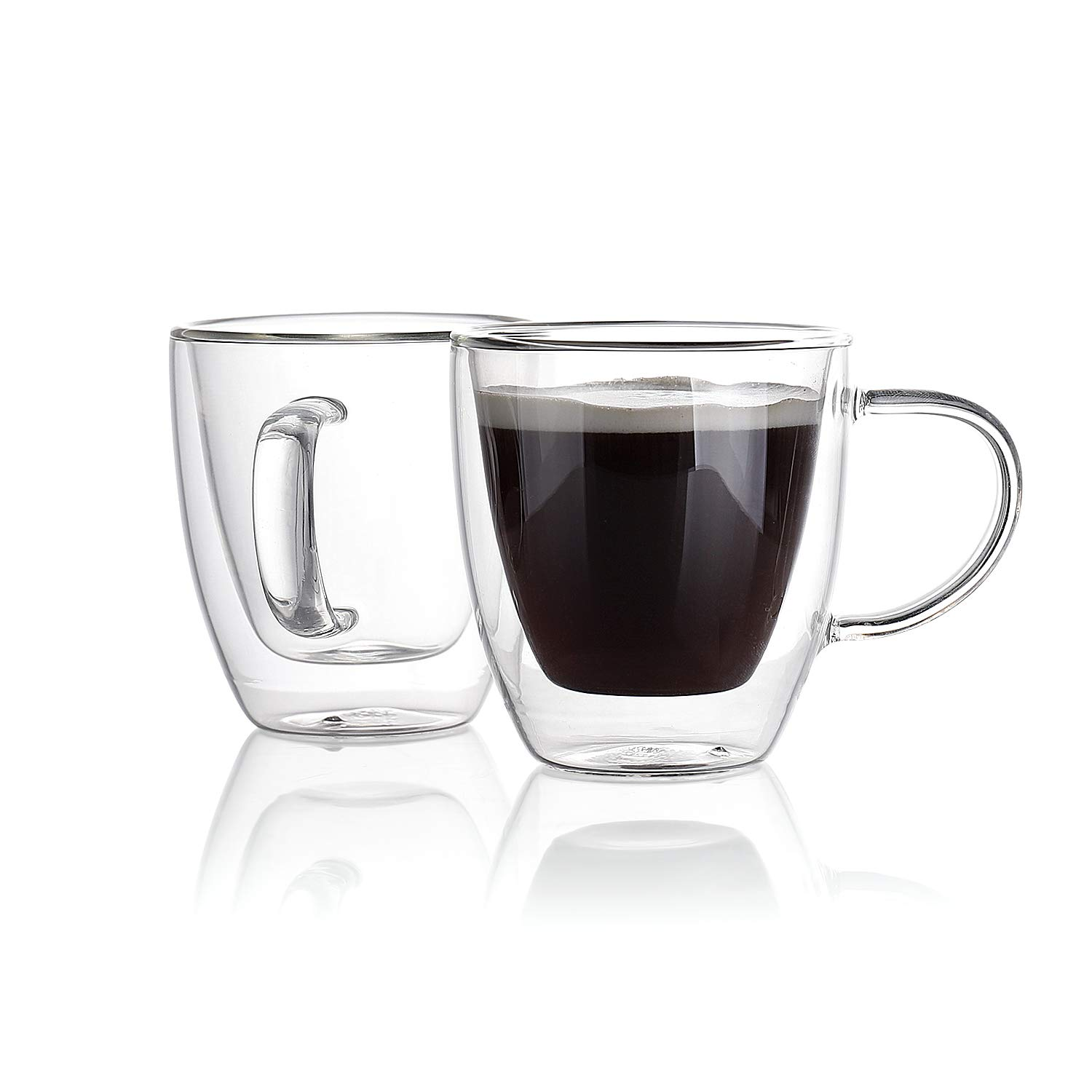 Sweese 4610 Espresso Cups Shot Glass Coffee 5 Oz Set of 2 - Double Wall Insulated Glass Mugs with Handle, Everyday Coffee Glasses Cups Perfect for Espresso Machine and Coffee Maker