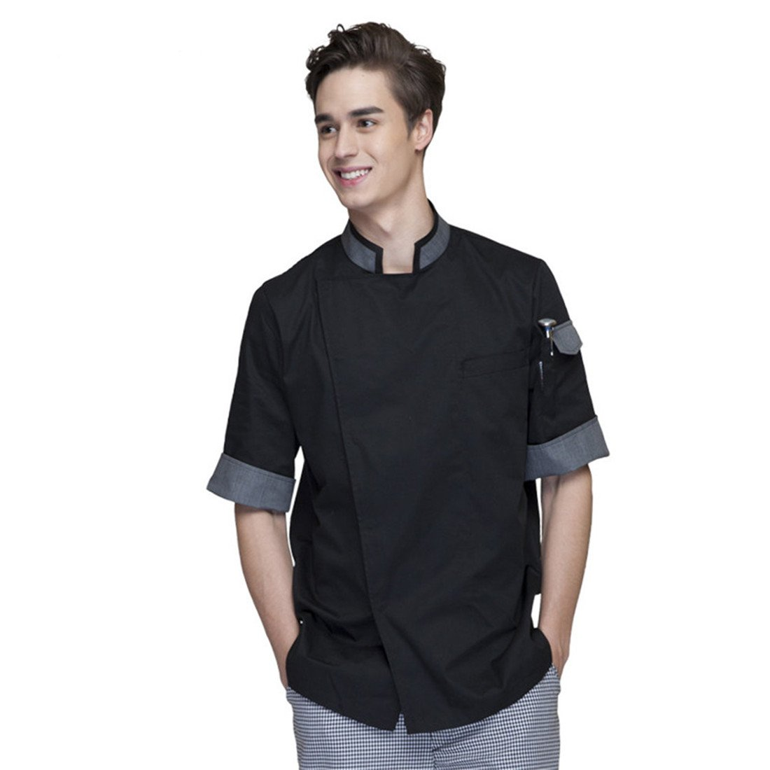Cheflife Men's Black Unisex Chef Uniforms Short Sleeve Chef Coat US:M/Tag:XL by Cheflife