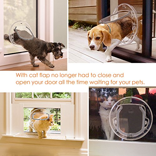 Pet Door For Cats And Small Dogs With 4 Ways Lock,Round Clear Cat Flap With  Door Liner Kit Best Fits For Screen Window / Sliding Glass Door / Glass  Window, ...