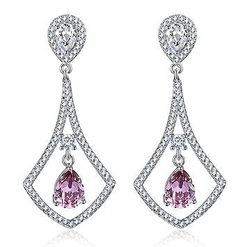 4637f6a66c90d Amazon.com: CJH Fashion Crystal Earrings Women Fashion Cool Long ...