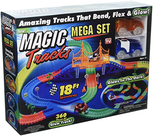 Magic Tracks Mega Set with RED & BLUE Car | As Seen on TV | 360 Piece Glowing 18′ Track Set