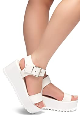 Herstyle Women's Carita Fashion Chunky Ankle Strap Shoe Platform Wedges Buckle Sandal by Herstyle