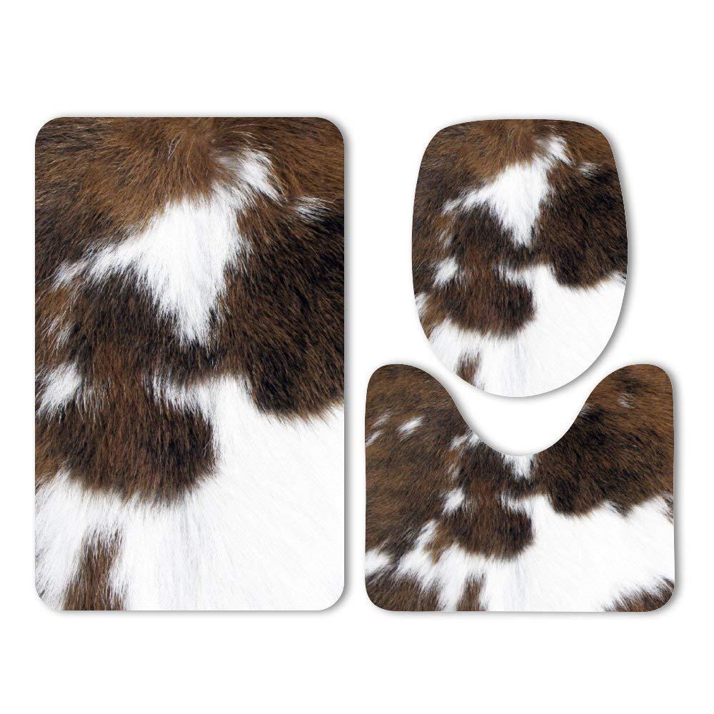 Yilooom 3-Pack Bath Mat Set,Cowhide Memory Foam Soft Shower Bath Rugs-Contour Mat and Lid Cover,Non-Slip Velvet Bathrug,Shower Toilet Bathmats Carpet by Yilooom