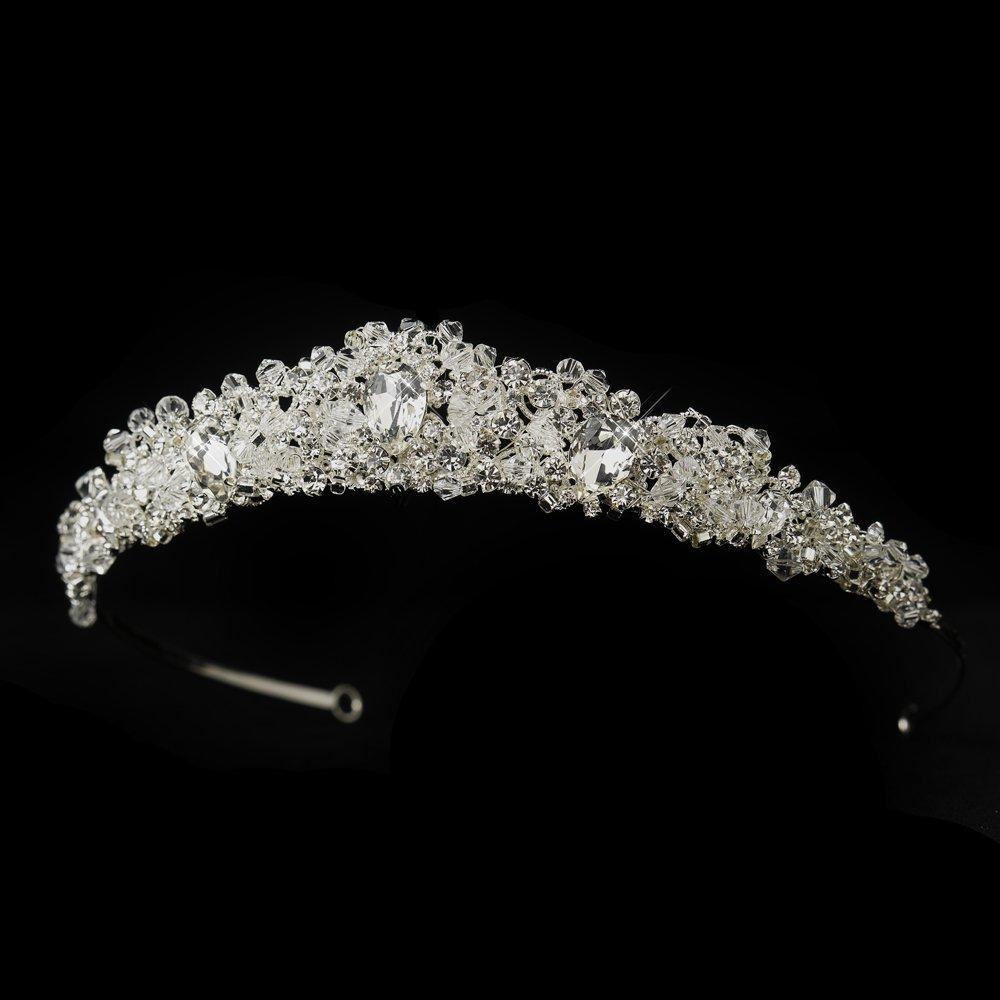 Mara Princess Cut Swarovski Crystal & Rhinestone Wedding Bridal Tiara