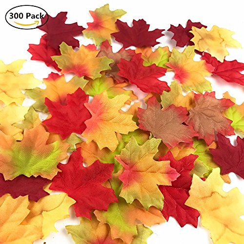 Artificial Maple Leaves Assorted Mixed Fall Colored Silk Leaves For Weddings Autumn Party Events Decorating 300 (Harvest Maple Syrup)