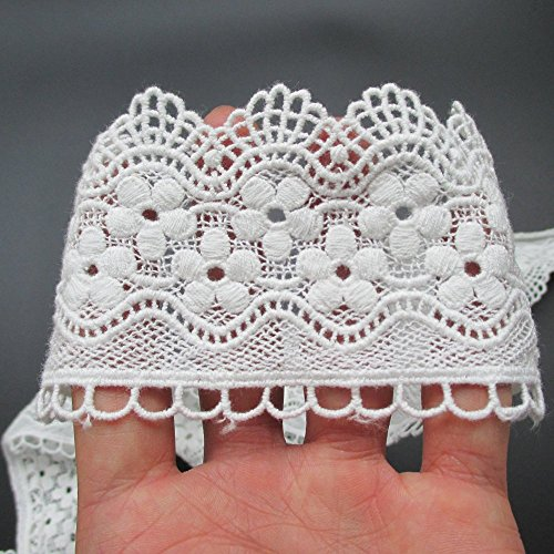 Embroidered Lace Trim Ribbon Floral Pattern For Garment Accessory Home Decor Supply By 15 Yards (White) (Embroidered Lace Trim)