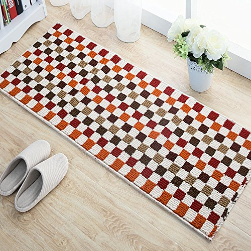EUCH Non-slip Rubber Backing Carpet Kitchen Mat Doormat Runner Bathroom Rug 2 Piece Sets,17''x47''+17''x23'' (Red Mosaic) by EUCH (Image #2)'