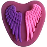 FLYMOR Angle Wings Fondant Silicone Mold 3D Silicone Cake Mold Cake Decorating Mold Sugar Craft Molds DIY Cake Mold, Mini,Pink