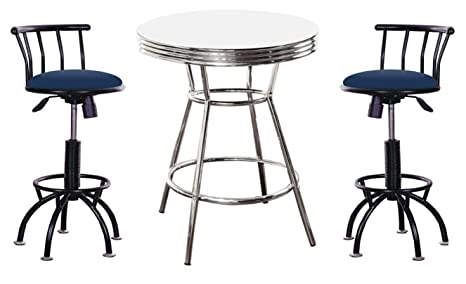Outstanding Amazon Com Soda Fountain Style 3 Piece White Bar Pub Table Alphanode Cool Chair Designs And Ideas Alphanodeonline