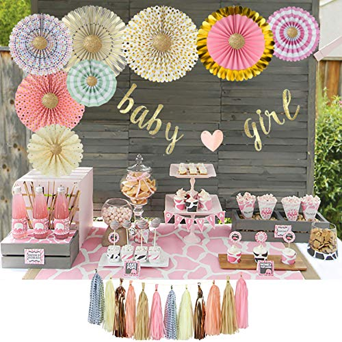 YARA Baby Shower Decorations for Girls Kit|Pink and Gold Party Supplies|Paper Fans|Baby Girl Garland Bunting Banner|Hanging|Tassels|Its a Girl|Boho Baby Shower Decor|Princess and Rustic Theme