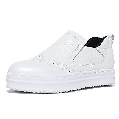 2016 New Women's Platform Pointed Toe White Casual Fashion Genuine Leather Oxford Shoes